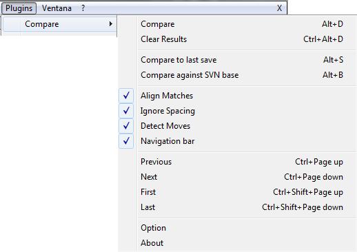 comparar código en Notepad++