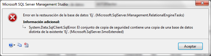 Error en la restauración de la base de datos