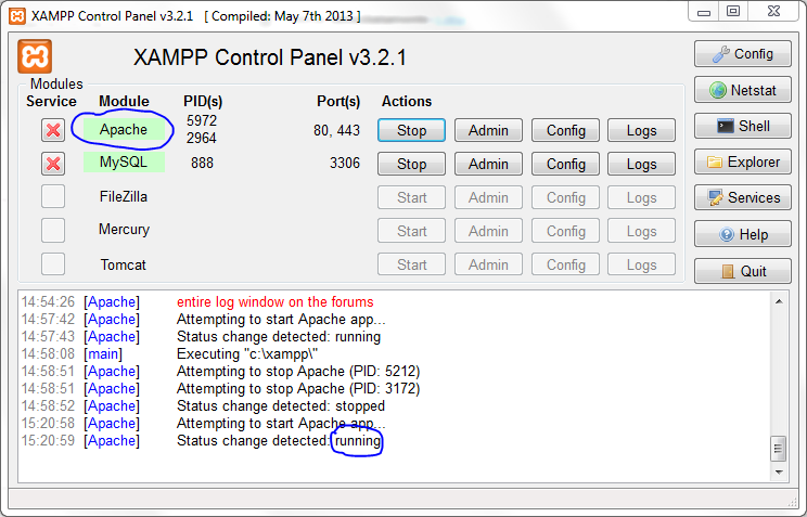 Port 80 in use by 'Unable to open process' with PID 4!