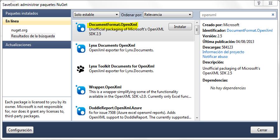 generar archivos Excel en C# con Open XML